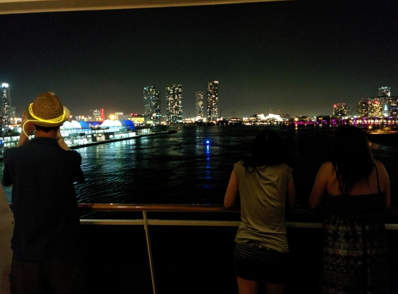 We sailed away from Miami with a view from Timmay's giant aft balcony, and it was perfect.
