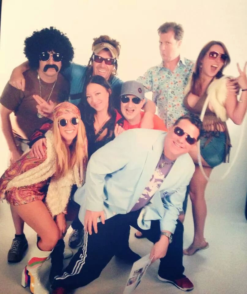Most of the group for 70's Theme Night - Yes, that's Vince in the back left.