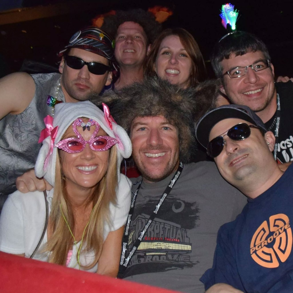Most of the group for Umphrey's Mcgee in the theater on Party Animal night.