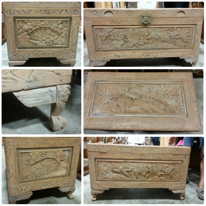 An old Chinese Camphor Trunk carved with peacocks and in desperate need of a high quality makeover.